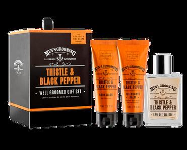 Männer-Geschenkset mit Parfum, Aftershave Balm und Duschgel in einer schönen schwarzen Box verpackt.