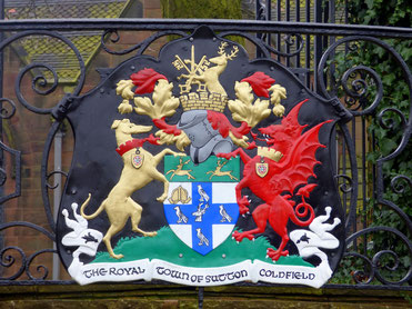 Sutton Coldfield coat of arms at Vesey Gardens - photograph Elliot Brown on Flickr reused under a Creative Commons licence