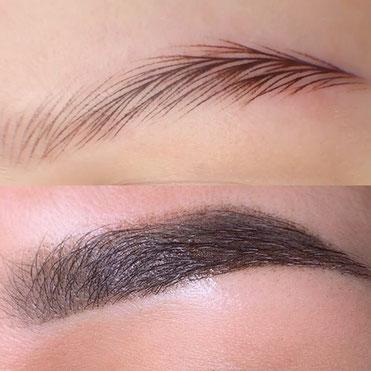 Permanent Make Up Augenbrauen, Puder-Technik + Härchenzeichnung + Formkorrektur
