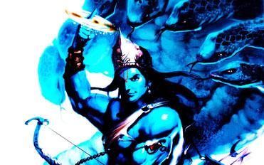 Vishnu mit dem Chakra in seiner rechten Hand