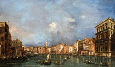 Francesco Guardi, Veduta del Canal Grande verso il Ponte di Rialto, olio su tela, 73x121 cm. Londra, collezione privata