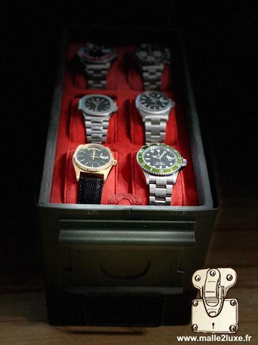 boite a 6 montres Rolex pateck omega luxe sure mesure
