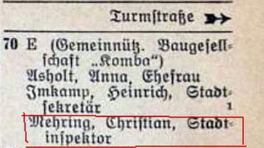 Geiststraße 70 - Einwohnerbuch 1940
