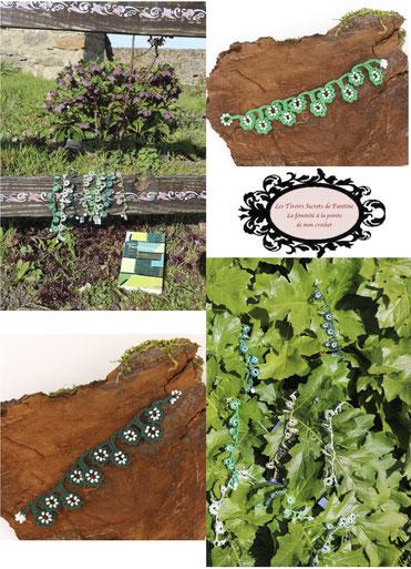 Les bracelets au crochet avec perles de la collection Valicia sont prêts. Ils sont déclinées dans la palette des verts. Vert une couleur omniprésente dans la nature, dans nos expressions, et si nous jouions avec ces dernières.