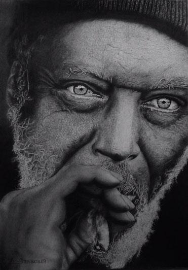 schwarz weiß bild, alter nachdenklicher Mann, Kunst, Handwerk, Bleistiftzeichnung