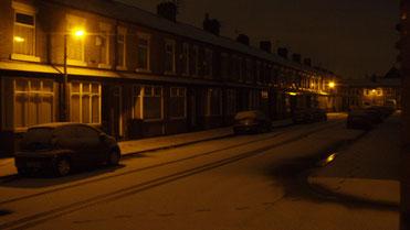 Snowy terrace street