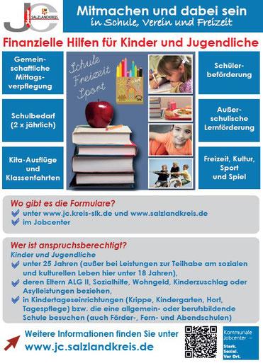 Grafik: Jobcenter Salzlandkreis: Finanzielle Hilfen für Kinder und Jugendliche