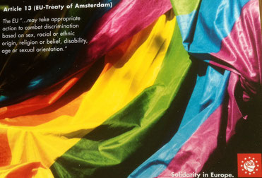 Bild: Foto: SPE Karte gegen Homophobie in Europa, Artikel 13 Amsterdamer Vertrag,
