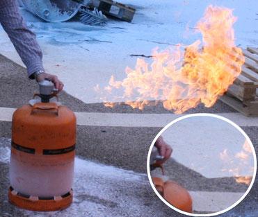 Llama por fuga de gas. Detalle de zona sin combustión. AprendEmergencias