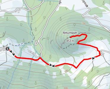 Route auf die Kreuzmauer nach dem Aufstieg vom Gasthof Klausriegler