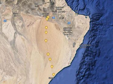 Route durch die Wahiba Sands