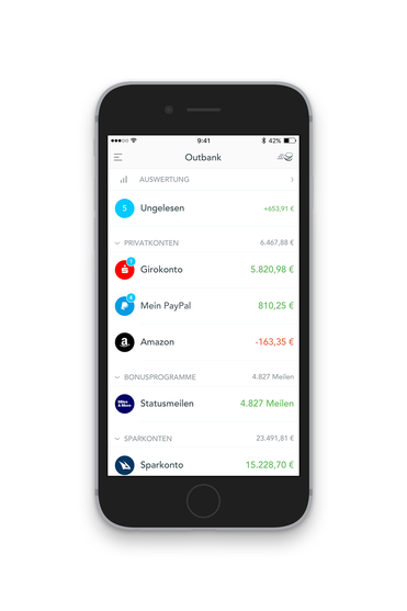 Dashboard der Outbank App mit Bankkonten