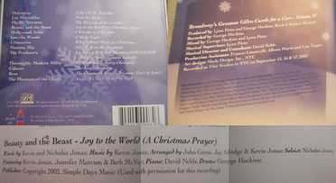 nick jonas first recording joy to the world carols for a cure 2002 broadway