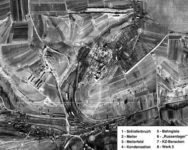 Britische Luftaufnahme (Montage) von den Wüstewerken 4 und 5 - Erzingen, 25. Dezember 1944. (National Collection of Aerial Photography, Edinburgh)