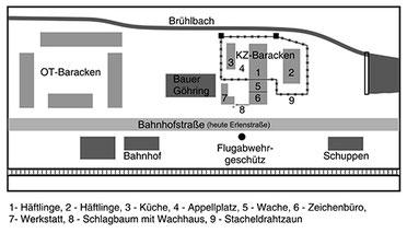 KZ-Lageplan Erzingen. Rekonstruktion nach Angaben des Zeitzeugen Ernst Göhring (Erzingen) und nach Zeichnungen von KZ-Häftlingen.