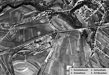 Britische Luftaufnahm e vom LIAS-Ölschieferwerk, 15. März 1945. (National Collection of Aerial Photography, Edinburgh)