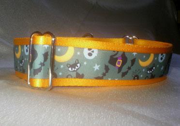 Halsband, Hund, Martingale 4cm breit, mit Borte Halloweenmotiv