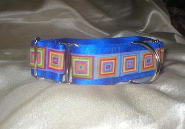 Halsband Hund, Martingale, 4cm breit, königsblau, farbenfrohe Sommerborte