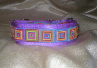 Halsband Hund, Martingale, 4cm breit, fliederfarben, farbenfrohe Sommer Borte