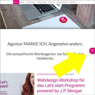 Screenshot der Website von MARKE ICH mit dem Hinweis auf die Funktion, die Seite in einer barrierefreien Fassung anzeigen zu lassen.