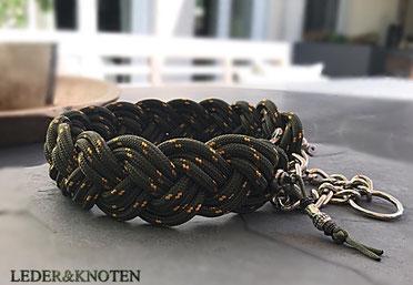geflochteses Halsband aus Tauwerk / Reepschnur mit Sprenger Schnapphaken