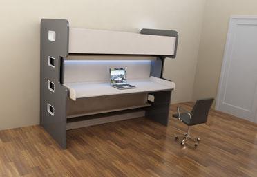 Мебель-трансформер, Стол-двухъярусная кровать