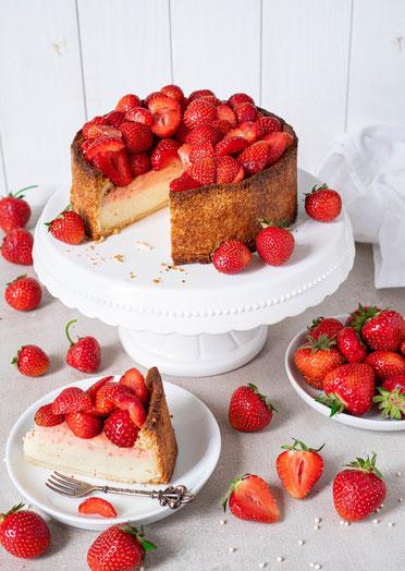 cake, cheesecake, vegan cheesecake, vegan, Käsekuchen, veganer Käsekuchen, Erdbeerkuchen, Strawberrycheesecake, Erdbeeren, strawberries, strawberry cheesecake