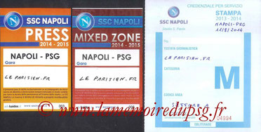 Tickets Presse  Naples-PSG  2014-15