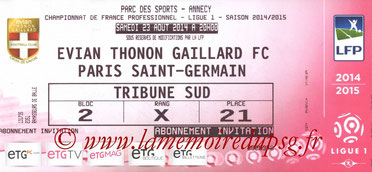 Ticket  Evian-PSG  2014-15