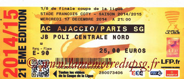 Ticket  Ajaccio-PSG  2014-15