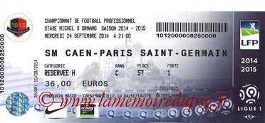 Ticket  Caen-PSG  2014-15