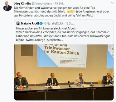 Tweet vom Gemeindepräsident Jörg Kündig vom 15.09.2020. Quelle: twitter.com