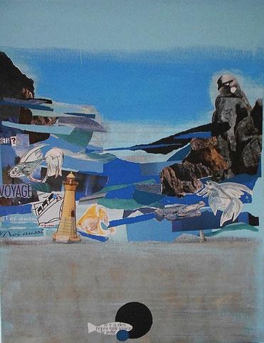 peinture, dessin, collages sur toiles
