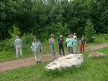 Die Gruppe von LBV Mitgliedern bestaunt den Geologiepfad