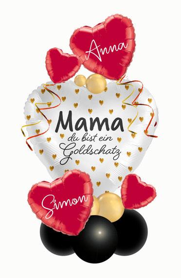 Ballon Luftballon Muttertag Mama du bist ein Goldschatz  außergewöhnlich Geschenk Ballongeschenk Herz  personalisiert Personalisierung mit Namen Versand Überraschung Dekoration Deko Liebe Liebesbeweis  Heiratsantrag Geburtstag ohne Helium