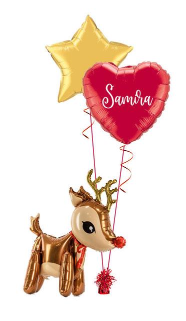 Rentier Weihnachten Nikolaus Versand Box Folienballon Ballon Luftballon personalisiert mit Namen Personalisierung Herz rot gold Stern Weihnachtspost Geburtstag Winter