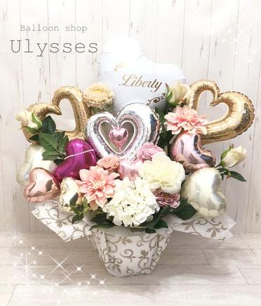 バルーンアート 茨城県つくば市 開店祝いの贈り物 風船 卓上バルーン 結婚式 ウェディング 花かご