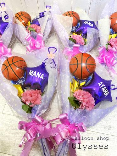 バスケ部 卒部祝い バスケットボール入り 名前入り バルーンギフト バルーン花束 ブーケ 卒業 卒団
