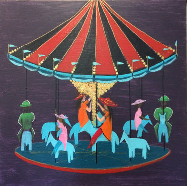 """Le Carousel"" 61cm x 61cm Acrylic on canvas $250 (excluding freight)"