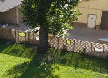 Fahrradloft Garten Lärchenholz Sichtschutzzaun