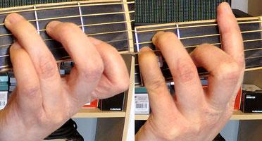Die Greifhand greift C-Dur und F-Dur als Barréeakkord.