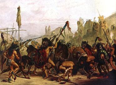 Bei dem Büffeltanz, der von zwei angesehenen Kriegern mit Bisonschädeln angeführt wird, imitieren Mandan das Gedränge innerhalb der Bisonherde.