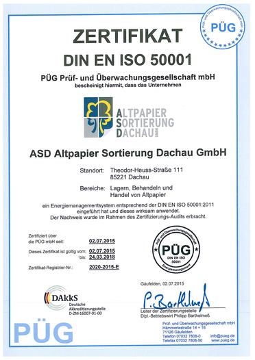 Zertifikate - ASD Altpapier-Sortierung Dachau GmbH