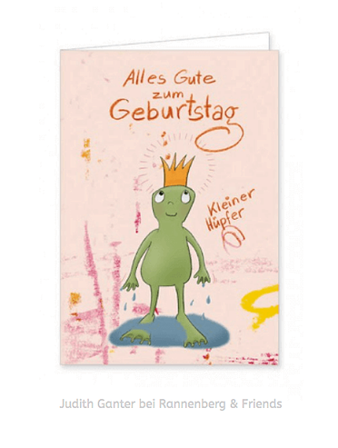 ALLES GUTE ZUM GEBURTSTAG - KLEINER HÜPFER - Frosch, Fröschchen - Text & Illustration Judith Ganter, bei Rannenberg & Friends - Geburtstagskarte