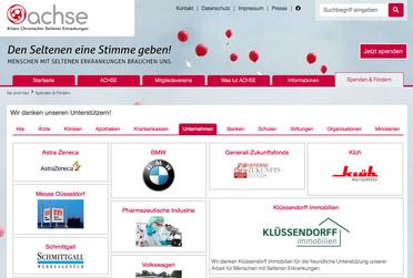 Bildschirmfoto Website ACHSE e.V.