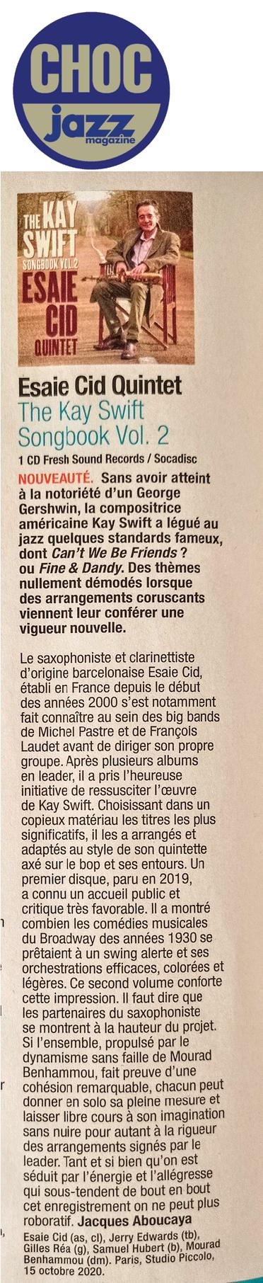 Chronique Jazz Magazine, août 2021 (sélection CHOCS)