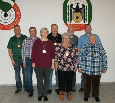 v.l.: Jörg Müller, Rainer Müller, Martina Müller, Bernd Schumacher, Uschi Grötzbach, Jürgen Hein, Markus Platz, Doris Görgens