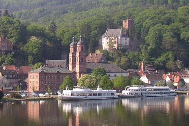 Einzigartiger Blick von Miltenberg Nord auf die Altstadt mit der Schiffsanlegestelle