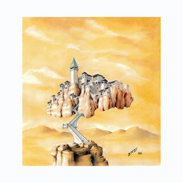 fantasy art, fantasy drawings, drawings by Spanish artists, fantasy landscapes