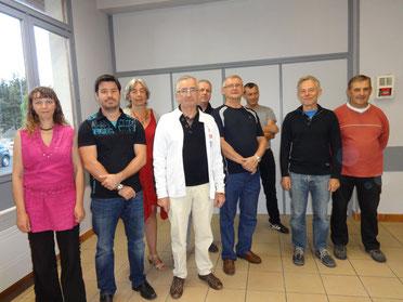 Une partie de l'équipe qui a réalisé les travaux (manquent sur la photo F.PARIS et J.LANEEL - employé communal)